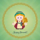 Happy Shavuot Jewish holiday greeting card. Ruth with Sheaf of w. Jewish holiday greeting card. Ruth with Sheaf of wheat and greeting inscription Happy Shavuot Royalty Free Stock Photo