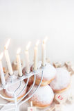 Jewish holiday Hannukah background. Jewish traditional holiday Hannukah with menorah, doughnuts and dreidles. Copy paste background royalty free stock images