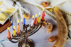 Jewish holiday hannukah symbols - menorah. Copy space background Royalty Free Stock Photography