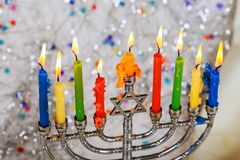 Jewish holiday hannukah symbols - menorah. Copy space background Royalty Free Stock Photo