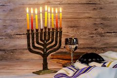 Jewish holiday hannukah symbols - menorah. Copy space background Royalty Free Stock Images