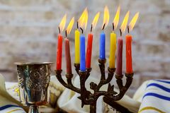 Jewish holiday hannukah symbols - menorah. Copy space background Stock Photos