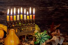 Jewish holiday hannukah symbols - menorah. Jewish holiday hannukah symbols menorah. Copy space background Stock Image