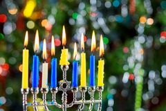 Jewish holiday hannukah symbols - menorah. Copy space background Stock Photo