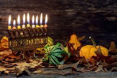 Jewish holiday hannukah symbols menorah. Copy space background. Hanuka menorah with burning candles. Jewish holiday hannukah Stock Images
