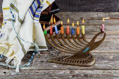Jewish holiday hannukah symbols - menorah. Copy space background Stock Images