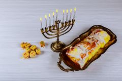 Jewish holiday hannukah symbols - menorah. Copy space background Royalty Free Stock Photos