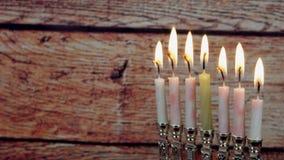 Jewish holiday hannukah symbols - menorah,. Hanukah candles celebrating the Jewish holiday Hanukkah celebration stock footage