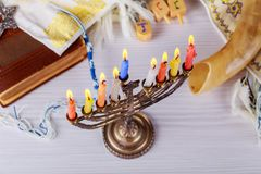 Jewish holiday hannukah symbols - menorah. Copy space background Stock Image