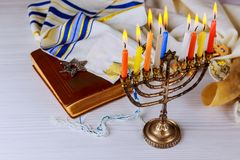 Jewish holiday hannukah symbols - menorah. Copy space background Stock Photography