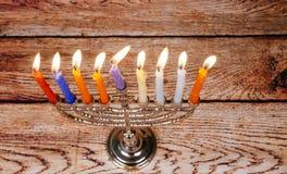 Jewish holiday Hanukkah background with menorah Stock Image