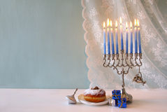 Jewish holiday Hanukkah background with menorah. Image of jewish holiday Hanukkah with menorah (traditional Candelabra royalty free stock images
