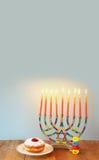 Jewish holiday Hanukkah background with menorah Royalty Free Stock Photo