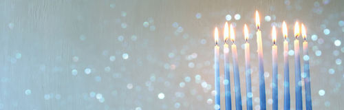jewish holiday Hanukkah background with menorah Stock Photography