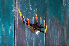 Jewish Holiday Hanukkah background with menorah Stock Photography