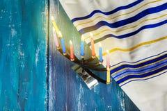 Jewish Holiday Hanukkah background with menorah Royalty Free Stock Photos