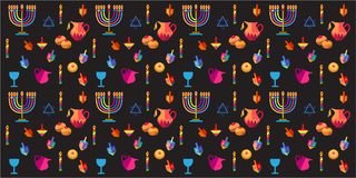 Hanukkah. Jewish holiday Hanukkah festive background with traditional Chanukah symbols - wooden dreidels spinning top, donuts, menorah, candles, oil jar, star of Royalty Free Stock Photo