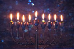Free Jewish Holiday Hanukkah Background With Menorah & X28;traditional Candelabra& X29; And Burning Candles Stock Images - 104011684