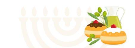 Jewish holiday of Hanukkah, sufganiyot doughnuts, oil jug vector illustration