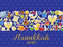 Jewish Holiday Hanukkah banners set. Vector illustration. Jewish Holiday Hanukkah horizontal banner. Traditional symbols of holiday light and candles cards on Stock Photo