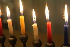 Jewish holiday Hanukkah with candles light Stock Photo