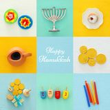Jewish holiday Hanukkah collage background with traditional menorah & x28;traditional candelabra& x29; and doughnut Stock Image