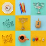 Jewish holiday Hanukkah collage background with traditional spinnig top, menorah & x28;traditional candelabra& x29;. Doughnut and candles stock photo