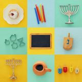Jewish holiday Hanukkah collage background with traditional spinnig top, menorah & x28;traditional candelabra& x29;. Doughnut and candles royalty free stock image