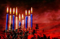 Jewish holiday Hanukkah creative background with menorah. View from above focus on . Jewish holiday Hanukkah creative background with menorah. View from above Stock Photo