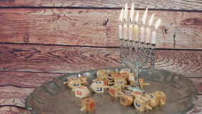 Jewish holiday Hanukkah creative background with menorah. View from above focus on . Jewish holiday Hanukkah creative background with menorah. View from above stock video