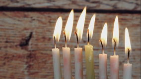 Jewish holiday Hanukkah creative background with menorah. View from above focus on . Jewish holiday Hanukkah creative background with menorah. View from above stock footage