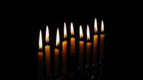 Jewish holiday Hanukkah creative background with menorah. View from above focus on . Jewish holiday Hanukkah creative background with menorah. View from above stock video footage