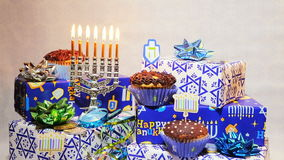 Jewish holiday Hanukkah creative background with menorah. View from above focus on . stock footage