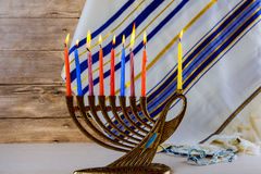 Jewish holiday Hanukkah creative background with menorah. View from above focus on . Stock Images