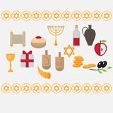 Jewish holiday Hanukkah design elements with traditional donuts, holiday candlestick menora and scroll, horn and wooden spinning t Stock Image