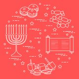 Jewish holiday Hanukkah: dreidel, sivivon, menorah, coins, donuts and other. Design for postcard, banner, poster or print