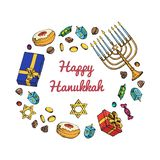 Jewish holiday Hanukkah greeting card. Doodle Set of traditional Chanukah symbols isolated on white - dreidels, Hebrew. Letters, donuts, menorah candles, star vector illustration