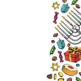 Jewish holiday Hanukkah greeting card. Set of traditional Chanukah symbols isolated on white - dreidels, sweets, donuts. Menorah candles, star David glowing vector illustration