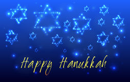 Jewish holiday Hanukkah Greeting Card. Greeting card for the Jewish holiday of Hanukkah. Star of David shaped out of stars in the night sky for the Jewish