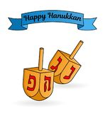 Jewish holiday Hanukkah greeting card. Traditional dreidels   Stock Photography