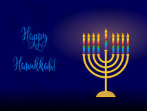 Jewish holiday of Hanukkah, hanukkah menorah and congratulation. Stock Images