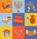 Jewish Holiday Hanukkah icons set. Royalty Free Stock Photography