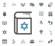 Jewish Holiday Hanukkah icons set. Vector illustration. Jewish book icon. Jewish Holiday Hanukkah icons set. Vector illustration Stock Image