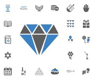 Jewish Holiday Hanukkah icons set. Vector illustration. Diamond icon. Jewish Holiday Hanukkah icons set. Vector illustration Royalty Free Stock Images