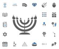 Jewish Holiday Hanukkah icons set. Vector illustration. Hanukkah candle icon. Jewish Holiday Hanukkah icons set. Vector illustration Stock Images