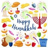 Jewish Holiday Hanukkah icons set. Vector illustration Royalty Free Stock Photo