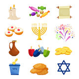 Jewish Holiday Hanukkah icons set. Vector illustration. Happy Hanukkah.Jewish holiday traditional symbols .Hanikkah objekts set Vector illustration vector illustration