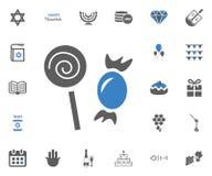 Jewish Holiday Hanukkah icons set. Vector illustration. Sweets icon. Jewish Holiday Hanukkah icons set. Vector illustration Stock Photo