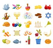 Jewish Holiday Hanukkah icons set. Vector illustration. Jewish Holiday Hanukkah icons set. Traditional symbols of holiday light and candles isolated on white