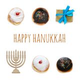 Jewish holiday Hanukkah image with traditional doughnuts isolated and menorah & x28;traditional candelabra& x29; on white. Jewish holiday Hanukkah image with